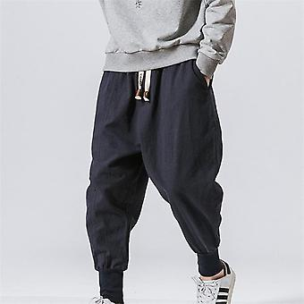 Men's Summer Linen Harem Solid Pants, Jogger Casual Loose Male Small Foot Pant,