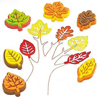 Baker ross foam leaf-shaped stampers for kids' art projects, to decorate cards, collage, and scrapbo