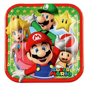 Party signs Super Mario 18 X 18 Cm 8 Pieces Green / Red