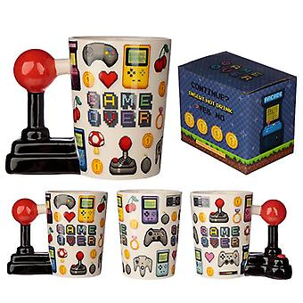 Tazza a forma di joystick da gioco in ceramica con decalcomania pixel