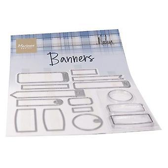 Marianne Design Selos Claros Banners Por Marleen Cs1058 (3 Selos 12 Dies)