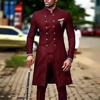 Casamento Wear Casual Men Burgundy Suit