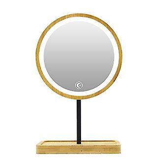 Wooden desktop led makeup mirror usb charging adjustable bright diffused light press screen beauty mirrors