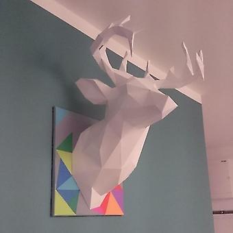 3d Paper Model Colorful Deer Head