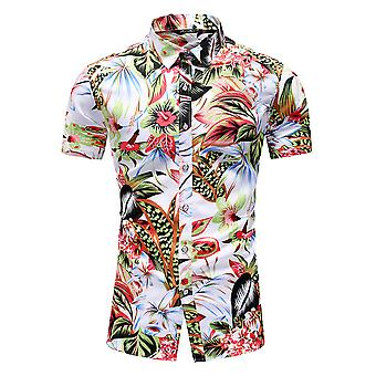Yunyun Men's Vogue Floral Print Hawaiian Short Sleeve Beach Shirt