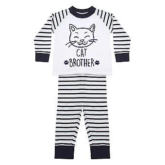 Kedi Kardeş Pembe Çizgili Pijama