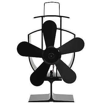 Ventilatore stufa alimentato a caldo 5 lame nere