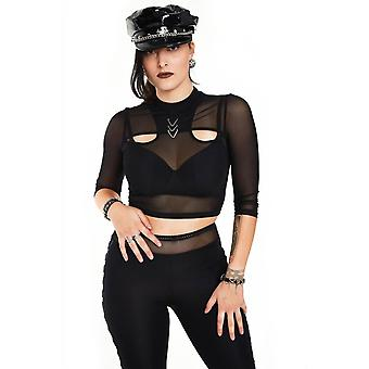 Jawbreaker Clothing Mesh Top With Triangle Ring Detail At Neck Line