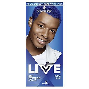 Schwarzkopf LIVE UB Mens Hair Colour Dye Ultra Blue 095 - Pack of 3