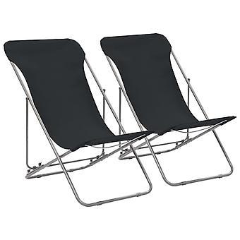 vidaXL sammenleggbare strandstoler 2 stk. stål og oxford stoff svart