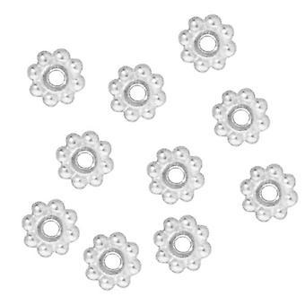 TierraCast Fine Bright Silver Plated Tin Daisy Spacer Kralen 6mm (10)