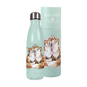 Wrendale Designs 'Contentment' Fox Cubs 500ml Isotherm Water Bottle | Boxed Gift