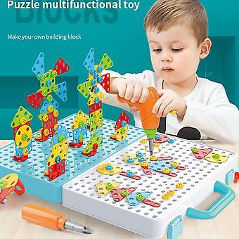 Dzieci wiertarka śruba nakrętka demontażu montaż dzieci wiertło 3D Puzzle Zabawki dla chłopca| Układanie bloków