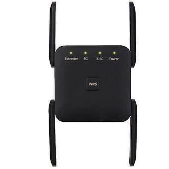 Uk plug black antenna signal booster,2.4 5g dual band wireless extender repeater 1200m wifi booster amplifier az9580