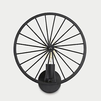 30CM Wheel Wall Lamp, 220VLoft Retro Industrial Style E27 Without Light Source, Black