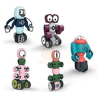 لبنايات المغناطيسي اللعب التعليمية للأطفال 3D المغناطيس الكرتون الروبوت نموذج اللغز| المغناطيسي WS27135