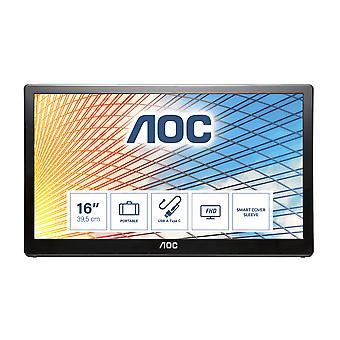 """AOC E1659FWU LED display 39.6 cm (15.6"""") 1366 x 768 pixels Black"""