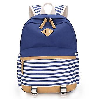 Navy Stil Canvas Rucksack Schüler Schultasche