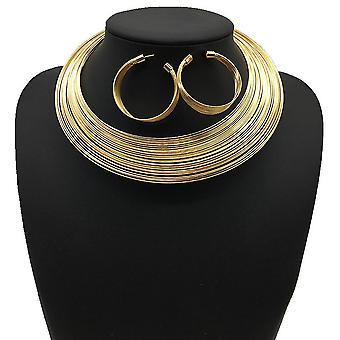 4pcs Women Necklace Set Nigeria Bridal Alloy Multilayered Silk Collar For Wedding