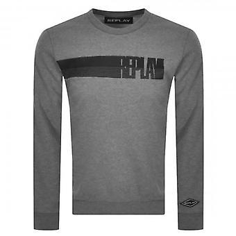 Replay Logo Crew Neck Sweatshirt Grey M3509
