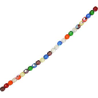 Czech Fire Polished Glass Beads, Faceted Round 6mm, 25 Pieces, Rainbow AB Mix