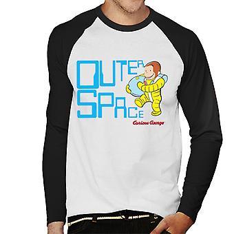 Curiosa t-shirt a maniche lunghe Da baseball da uomo George Outer Space