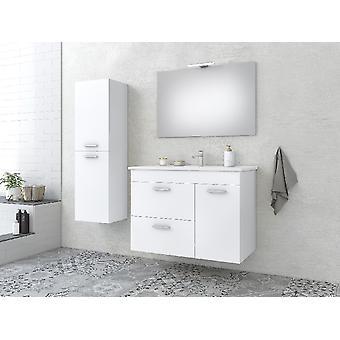 Set Mobili Aegean , Colore Bianco, Cromo in MDF, Ceramica, LPB, Vetro, Alluminio, ABS, Unita' Base con Lavabo: L85xP43,5xA60 cm