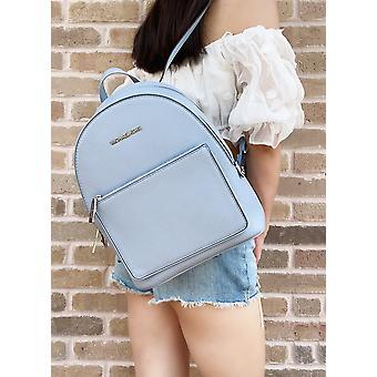 Michael kors kenly idina medium front pocket backpack page blue pebbled leather