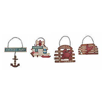 Набор 4 малых морском стиле деревянных знаков кухня декор