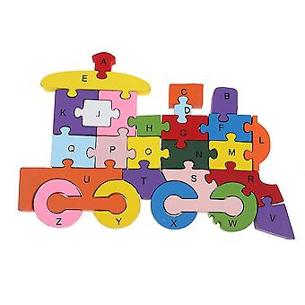 Caraele Alphabet Jigsaw Puzzle Wooden Letters Numbers Building Block Toys For Kids