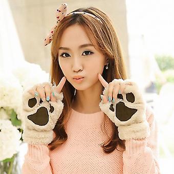 Lovely Women Cat Claw Paw Mitten Plush Glove Costume Gift Winter Half Finger