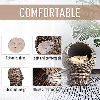 PawHut Woven Banana Leaf Elevated Cat Bed Wicker Kitten Basket Pet Den. House Cozy Cave with Soft Cushion Dome 42x33x52cm Grey