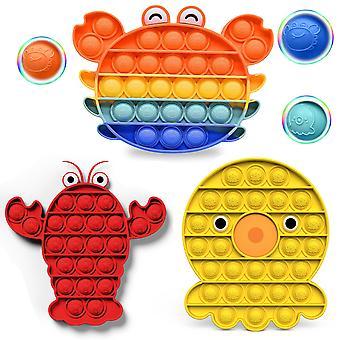 3 Packs Pop It Fidget Toys Pack, Push Pop Bubble Fidget Sensory Toys, Autism Special Needs Stress Relief Silicone Pressure Relieving Toys, Squeeze Toy