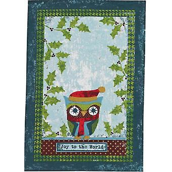 Joy to the World Cozy Owl Holly Branches Holiday Print Dish Towel
