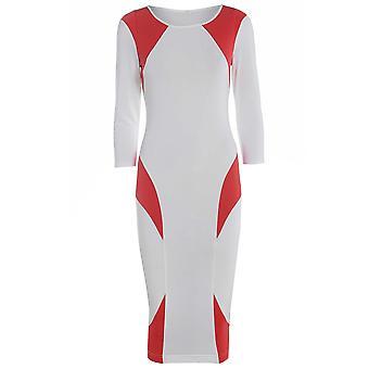 Rot auf weiß Block figurbetonten Kleid DR725-10