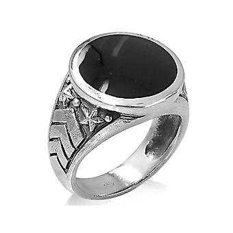 David Sigal Mens Military Ring with Black Enamel in Stainless Steel