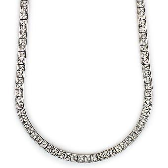 Tennis Necklace Platinum Plated CZ Square Cut 4mm