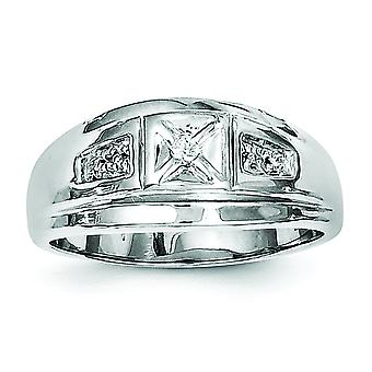 925 Sterling Silver Polished Rhodium plated Rhodium Plated Diamond Mens Ring Jewelry Gifts for Men - Ring Size: 9 to 11