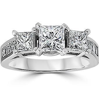 2ct Princess Cut engasjement forbedret Diamond Ring 14K hvitt gull