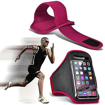 (Hot Pink) Adjustable Sweatproof/Water Resistent Sports Fitness Running Cycling Gym Armband Phone Case For Huawei Y7 Pro (2018) [ XXL]