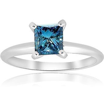1ct blå Princess Cut diamanter kabal forlovelsesring 14k hvitt gull