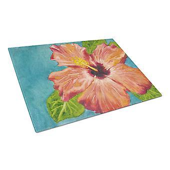 Coral Hibiscus by Malenda temppu lasinen leikkuulauta suuri