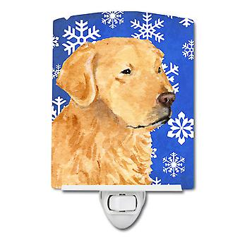 Golden Retriever Winter Snowflakes Holiday Ceramic Night Light