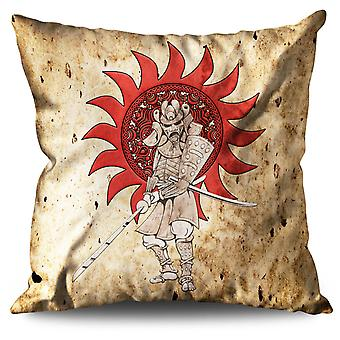 Katana Sun Japan Linen Cushion 30cm x 30cm | Wellcoda