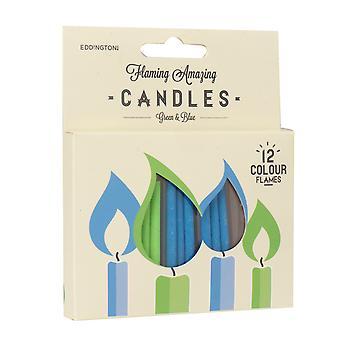 Flaming verbazingwekkende kaarsen, groen en blauw