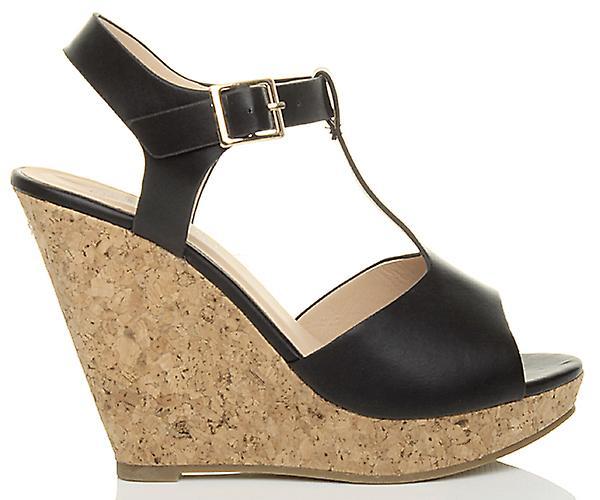 Ajvani womens high heel cork wedge platform summer t bar buckle sandals