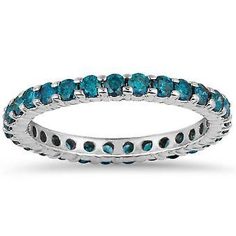 1 1/2ct Blue Diamond Eternity Ring 14K White Gold