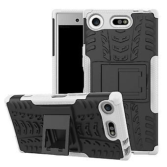 Hybrid Case 2teilig Robot Weiß für Sony Xperia XZ1 Compact / Mini Tasche Hülle Cover Schutz