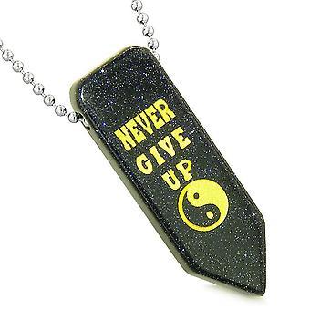Nigdy nie poddawaj się odwracalne Amulet Yin Yang energii uprawnień grot Goldstone niebieski naszyjnik