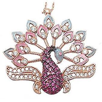 Розовый павлина ожерелье 18ct Роуз золото серебро покрытием
